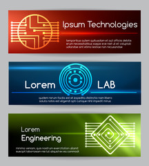 Digital engineering banner set. Computer technology banners with chips vector illustration