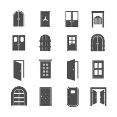 Wall Mural - Black door icons. Vector open and close, house and safe doors signs isolated on white background
