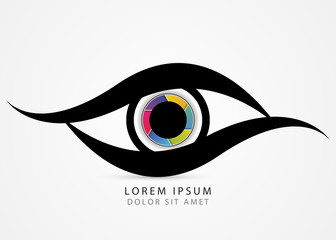 Photographer symbol. Colorful creative eye. Vector