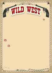 Wild West poster background with revolvers and text on old paper texture