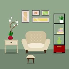 Furniture. Interior. Living room. Flat design