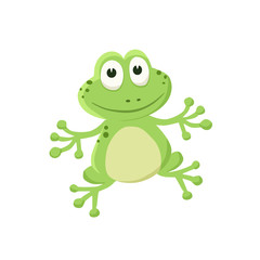 Adorable frog illustration. Cute cartoon animal isolated on white background.