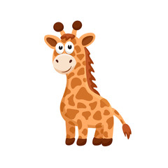 Adorable giraffe illustration. Cute cartoon animal isolated on white background.