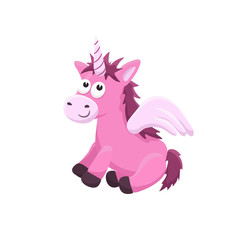 Adorable unicorn illustration. Cute cartoon animal isolated on white background.