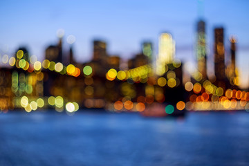 Defocused view New-York City downtown from Brooklyn