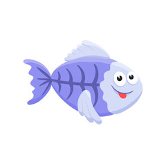 Adorable x-ray fish illustration. Cute cartoon animal isolated on white background.