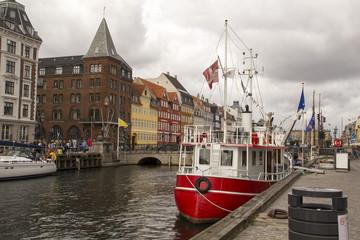 Nyhavn colourful townhouses in Copenhagen's historic district.Denmark