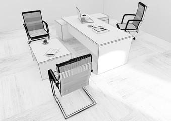 VIP office furniture grid 3D rendering