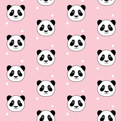 cute panda head on white dots pink background seamless pattern vector