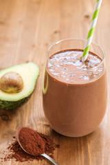 Healthy chocolate avocado banana smoothie