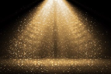 Photo sur Plexiglas Lumiere, Ombre Stage light and golden glitter lights on floor. Abstract gold background for display your product. Spotlight realistic ray