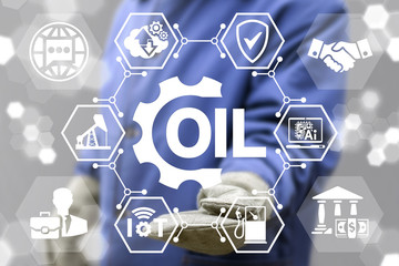 Fuel Industry 4.0 concept. Servicing gas production. Gasoline manufacture. Introduction computer technologies in petroleum manufacturing. Worker offer oil gear icon on virtual screen