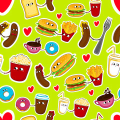 Fast food funny love stickers. Cute cartoon seamless emoticons. Vector illustration.