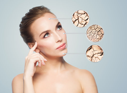 face of beautiful woman with damaged skin samples