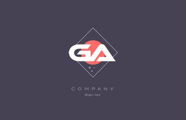 ga g a  vintage retro pink purple alphabet letter logo icon template