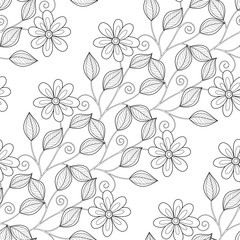 Poster Floral black and white Vector Seamless Monochrome Floral Pattern