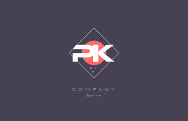 Obraz pk p k  vintage retro pink purple alphabet letter logo icon template - fototapety do salonu