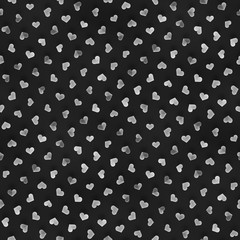 Seamless Monochrome Pattern With Hearts. Repeating Scattered Shapes Texture.