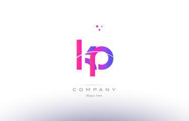 Obraz kp k p  pink modern creative alphabet letter logo icon template - fototapety do salonu