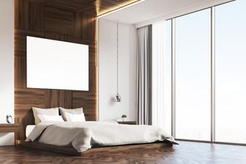 Bedroom with picture, wood, corner