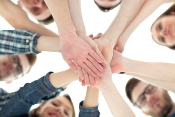 concept of team and reliability: a team of students standing in