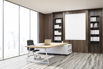 CEO office with dark wooden walls, corner