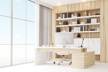 Light wooden workplace with table, corner