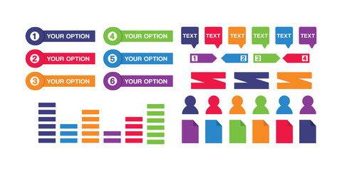 Infographic elements button set 5  for business and web page design.