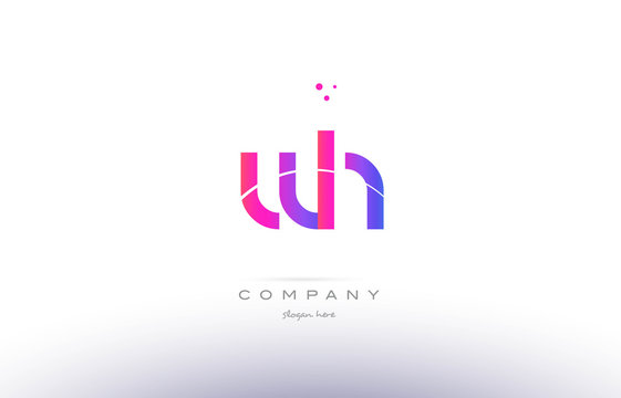wh w h  pink modern creative alphabet letter logo icon template