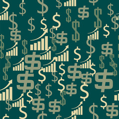 Money symbols with growing income trend financial success seamless pattern
