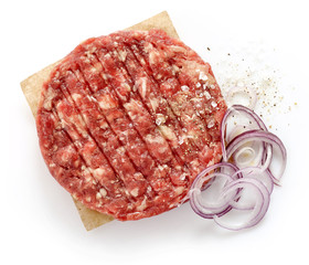 raw minced meat for making a burger