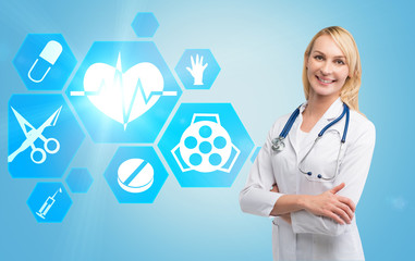 Smiling woman doctor and hexagonal icons