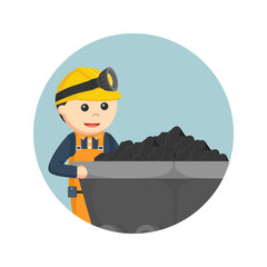 miner with coal cart in circle background