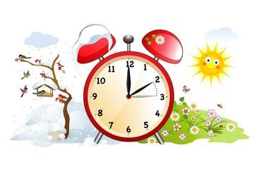Zeitumstellung, Winterzeit, Sommerzeit, Wecker, Vektor Illustration isoliert auf weißem Hintergrund