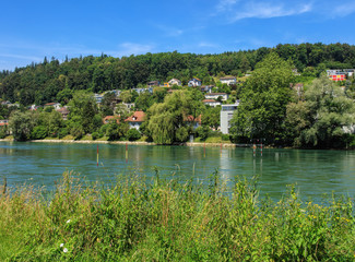 The Aare river in Switzerland, view from the city of Aargau