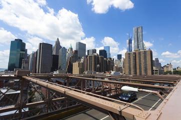 Manhattan skyline from the Brooklyn Bridge pedestrian walkway.
