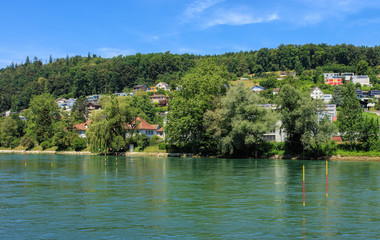 The Aare river in Switzerland, view from the city of Aarau