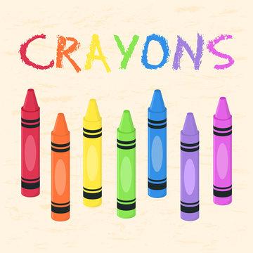 Crayons Set Rainbow Color Back to School Supplies Vector Illustration.