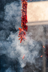 Exploding Chinese Firecrackers with Much Smoke