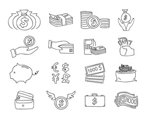 money thin line icon vector set hand drawn line art illustration