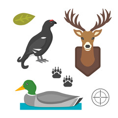 Deer head wild and bird duck silhouette mammal reindeer wildlife antler graphic and design horned stag drawing sign trophy emblem hunt male vector illustration.
