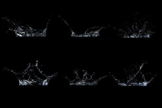 Set of water splash in black background.