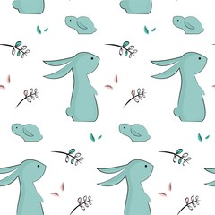 childish pattern with cute rabbits