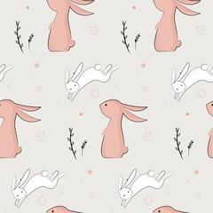 childish pattern with cute rabbits