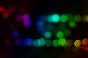Colorful spot of bokeh effect at night