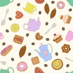 Бесшовный узор с разноцветным изображением различного десерта и предметов для чая и кофе.