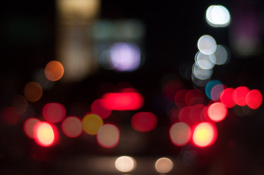 Abstract colorful street bokeh background