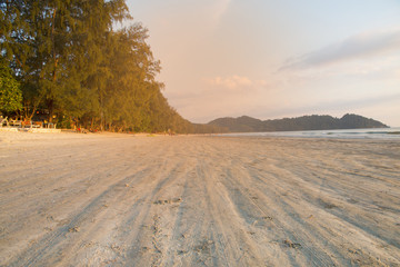 beautiful scene, tropical beach in evening time