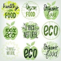 Set healthy food, eco food, organic food, 100% natural. Hand drawn texture templates
