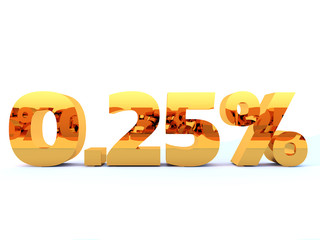 Gold zero point two five percent or 0.25 % with self reflection isolated over white background. 3D rendering.
